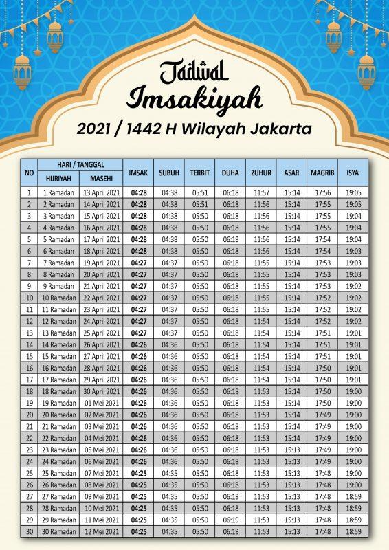 Jadwal Imsak dan Waktu Sholat Ramadhan 1442 H Jakarta